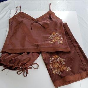 Secret Treasures Satin 2 Piece Pajamas Brown